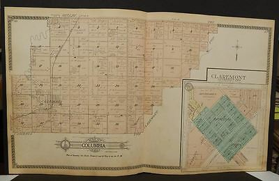 South Dakota Brown County Map Columbia Claremont  1911  Double Page  L8#37