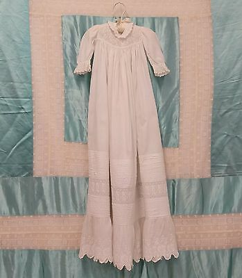 """ANTIQUE 19th c Baby's CHRISTENING GOWN ARYSHIRE EMBROIDERY PINTUCKS 35.5"""" Long"""