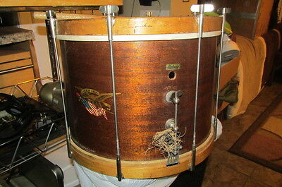 Very Old Ludwig Wooden Marching Band Snare Drum With Canvas Bag & Sticks