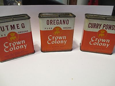 3 Vintage Metal Spice Tins crown colony nutmeg oregano curry powder spice 1960's