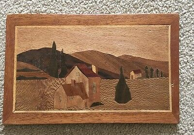 Wooden  Marquetry Picture Of Village