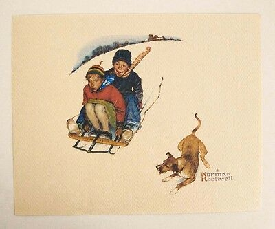 Vintage 1970's Norman Rockwell Downhill Daring Young Love Series Print 1