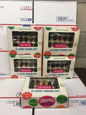 5 Vintage NOS Radiant Decorative Christmas Twinkling Lights NEW NEW