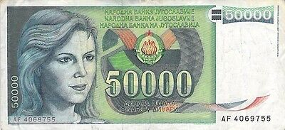 European paper currency 1988 50000 Dinara