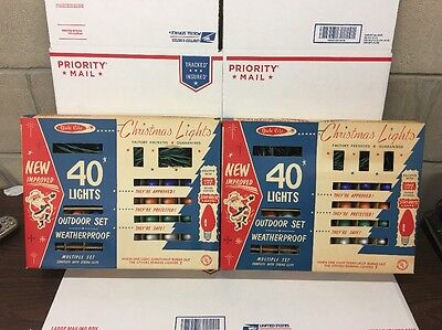 2 Vintage Yule-Glo Outdoor Christmas Lights Model 440UA 40 Lights NIB 1960s