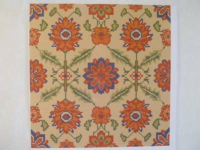 GOBELIN-DIAGRAMM - ORANGE BLUMEN von WILLIAMHOPE DESIGNS 046