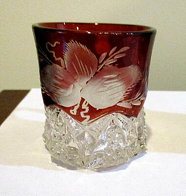 Ruby Flash Handled Cup With Etched Leaves And Grape Pattern0480-17