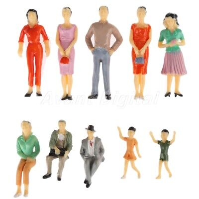 10pcs Colorful Painted Model Passengers Figures Train Scenery Layout Scale 1:25