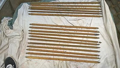 17 Victorian Brass Stair Rods + clips AND 26 brass picture hooks, collection
