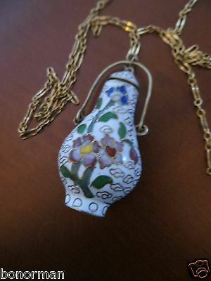 Vintage Asian Chinese Enamel Cloisonne Brass Snuff Bottle Pendant chain Necklace