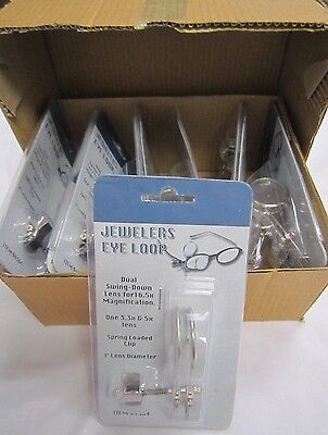 Box of 10 DUAL EYE LOUPE 16.5x Power CLIP ON Jewelers Magnifier #94364 *