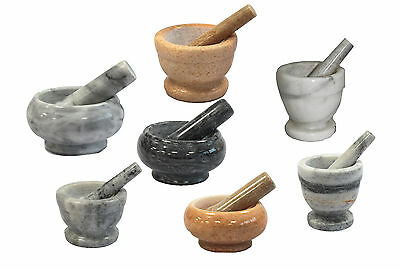Marble Pestle And Mortar Set Grinding Crushing Herbs Spices Kitchen Grinder