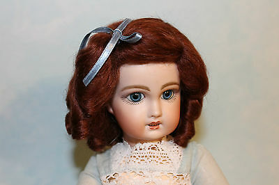 Daisy Auburn mohair wig for antique French/ German bisque doll size  9