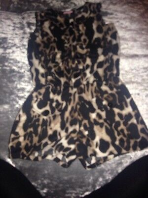 Girls Leopard Print Playsuit Age 7-8 Years