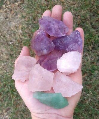 GemFarmer RQA: Lot 4 Large Purple Amethyst + 4 Rose Quartz Rough Crystals Chakra