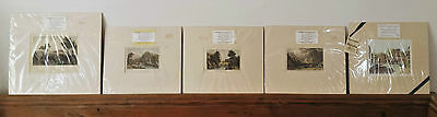 Job Lot 5 Antique Fine Art Engraved Prints Hand Coloured 1829 Allom Westall