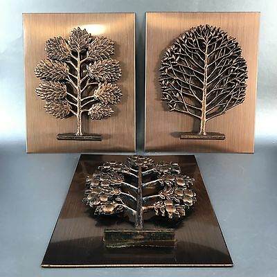 Set Of 3 Vintage Copper Tree Sculptures Wall Art Coppercraft MCM Pictures