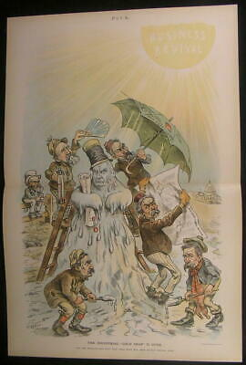 Business Revival Renewed Confidence Melting 1894 antique color lithograph print