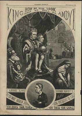 Andrew Johnson King or President by Thomas Nast 1866 antique wood engraved print