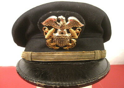 WWII US Navy USN Officer's Visor Service Cap or Hat w/ Leather Brim - Size 6 5/8