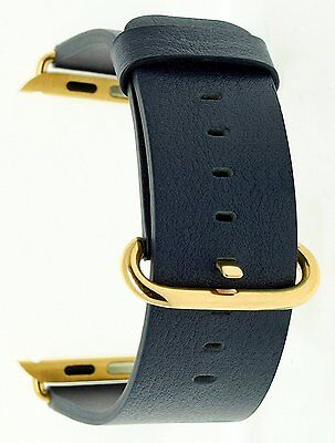 Apple Watch Band 38mm Genuine Leather Navy Strap Loop Metal Clasp Golden Buckle