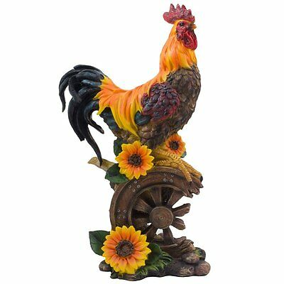Proud Rooster Statue with Sunflower Accents for Rustic Country Kitchen Decor