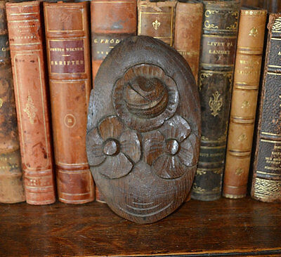 Antique German Small Carved Wood Floral Plaque