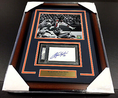 Walter Payton Autographed Psa Index Card With Framed 8X10 Photo Chicago Bears