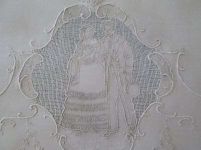 Fine Antique Appenzell Large Linen Guest/show Towel Wedding Couple Medallion