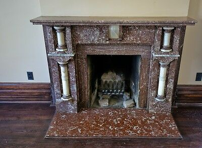 1880's Chicago Mansion Tennessee & Cararra Marble Fireplace Mantel W/ Pilasters