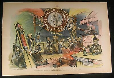 Silver Coinage Sham Grand Spectacle Circus 1895 antique color lithograph print