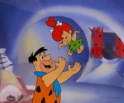 THE FLINTSTONES Fred Tossing Pebbles Animation Art Sericel Cel