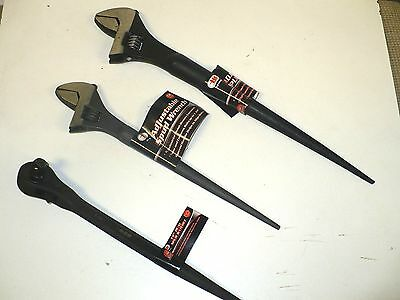 """2 New ADJUSTABLE SPUD Wrenches 12,15"""" & 14"""" Dual ratchet 3/8-1/2- Free Shipping"""