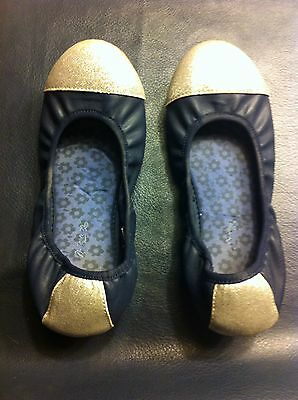 Girls Hanna Anderson Shoes Navy Silver Size 2 1/2