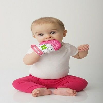 Baby Mouthie Teething Mitten Pain Relief Soothing Munch Glove Toy Mitt New Pink