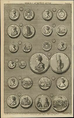 portraits 12 Medals of Queen Anne 1747 British Numismatic Medal rare old print