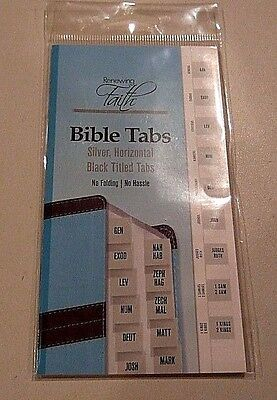 Renewing Faith Silver Horizontal Bible Index Tabs - Old/New Testament -NIP (#15)