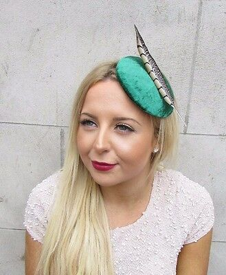 Emerald Green Pheasant Feather Fascinator Hair Clip Hat Races Cocktail Vtg 2638
