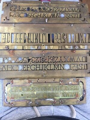 Vintage brass number, Alphabet Plate stencils Lettering  lot of 4 One of a kind.
