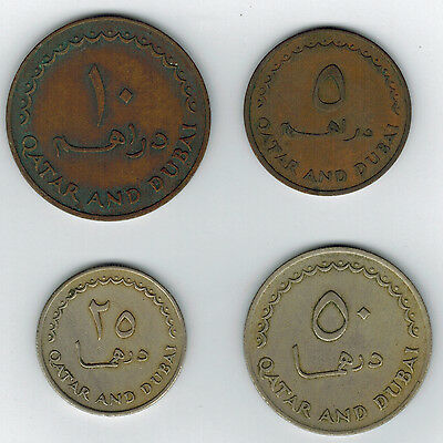 Qatar & Dubai Lot Of 4 Different Coins  5, 10, 25 & 50 Dirhams Scarce!!!