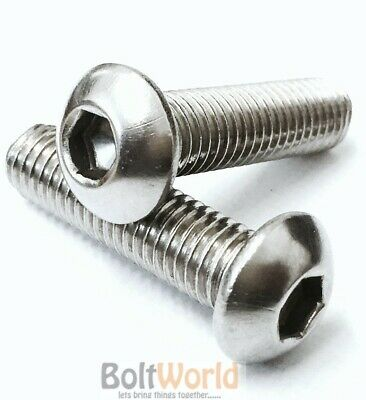 "3/16"" 1/4"" 3/8"" 1/2"" 5/8"" 3/4"" 1 Unc Socket Button Head Bolts A2 Stainless Steel"
