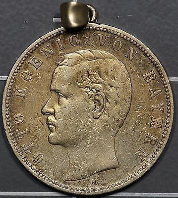 1904-D Germany Silver 5 Mark, Bavaria KM# 915, Holed for Suspension, Better Date