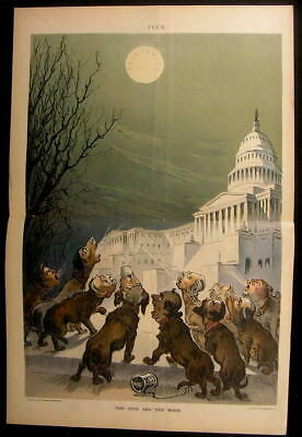Political Dogs Howling Moon of Prosperity 1899 antique color lithograph print