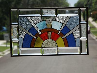 "•Here comes the SUN •Beveled Stained Glass Window Panel •20 1/2""x12 1/2""(52x32cm"
