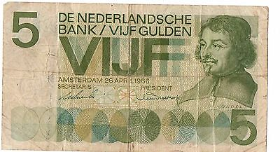1966--5 Gulden Netherlands Bank Note Vf Cond