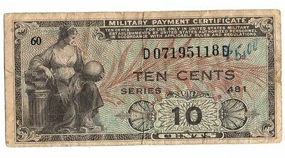 10 Cents American Military Payment Very Fine Certificate
