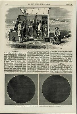 Solar Eclipse Photoheliograph Observatory nice wonderful 1860 unusual old print