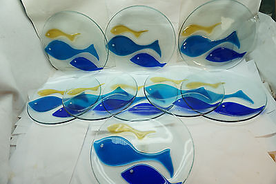 Pottery Barn Dinner Plates Fused Glass Fish Platters Chargers Set 9 Modernist