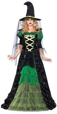 Storybook Witch Adult Womens Costume Black & Green Ruched Fancy Dress Leg Avenue
