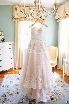 White/Pink/Ivory Lace Wedding Dress Bridal Gown Custom Size2+4+6+8+10+12+14+16+
